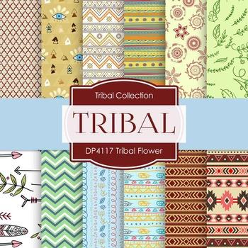 Digital Papers - Tribal Flowers (DP4117)