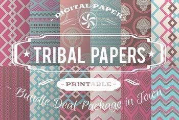 Digital Papers - Tribal Patterns Bundle Deal
