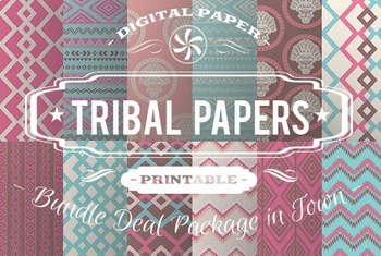 Digital Papers - Tribal Patterns Bundle Deal