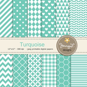 Digital Papers : Turquoise
