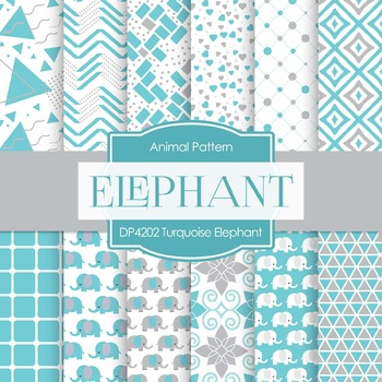 Digital Papers - Turquoise Elephant (DP4202)