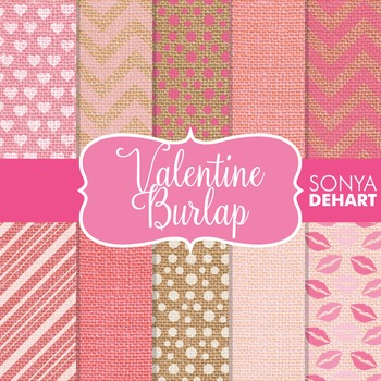 Digital Papers - Valentine Burlap