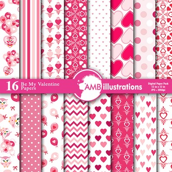 Digital Papers Valentine Hearts digital paper and backgrounds, AMB-1166