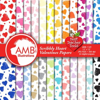 Valentine Hearts Digital Papers and backgrounds, {Best Teacher Tools} AMB-1149
