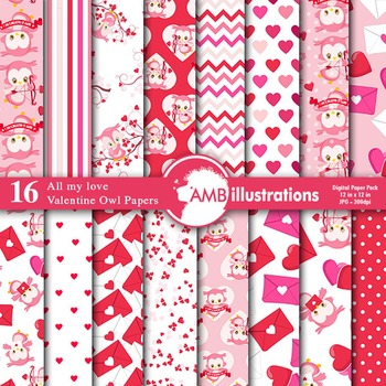 Digital Papers, Valentines Day Digital Paper, Owls Papers, AMB-1181