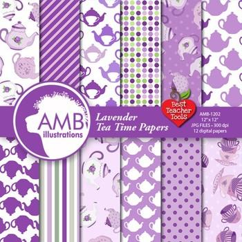 Tea Time Digital Papers in Purple {Best Teacher Tools}  AMB-1202