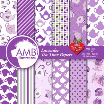 Digital Papers, Valentines Day, Tea Time Digital Papers, P