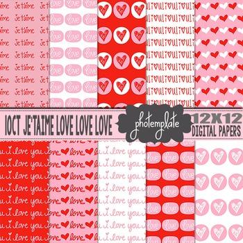 Digital Papers: Valentines Love Scrapbooking Paper