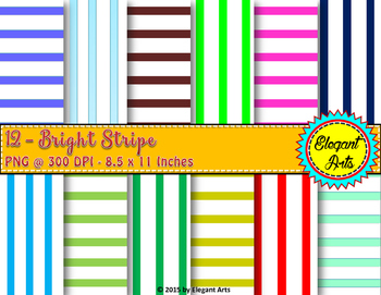 Digital Papers - Vertical Stripes with White Background