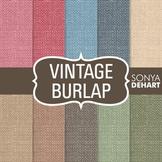 Digital Papers -  Vintage Burlap Linen Jute Fabric Textures