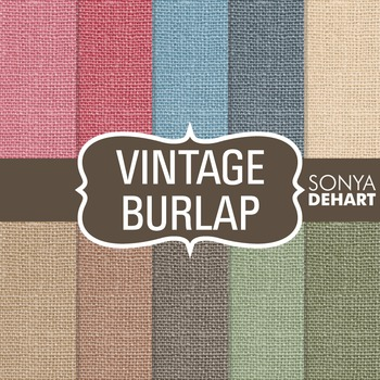 Digital Papers -  Vintage Burlap Linen Jute Fabric Textures