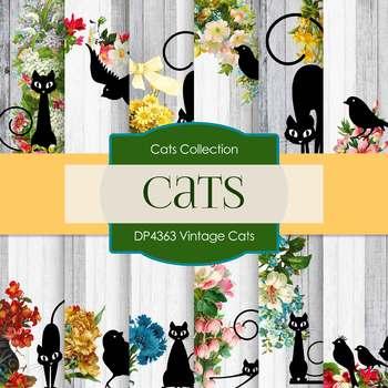 Digital Papers - Vintage Cats (DP4363)