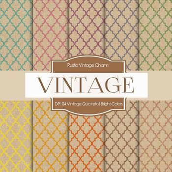 Digital Papers - Vintage Quatrefoil Bright Colors (DP104)