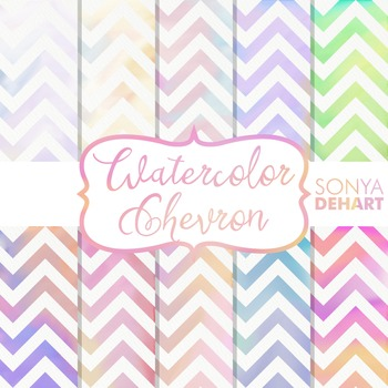 Digital Papers - Watercolor Chevron Patterns