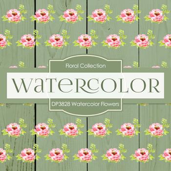 Digital Papers - Watercolor Flowers (DP3828)
