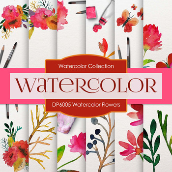 Digital Papers - Watercolor Flowers (DP6005)