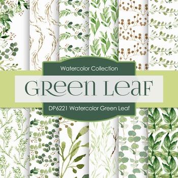 Digital Papers - Watercolor Green Leaf (DP6221)