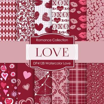 Digital Papers - Watercolor Love (DP4128)