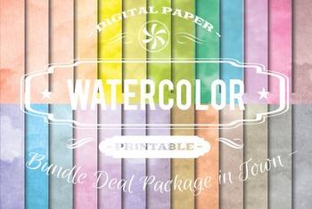 Digital Papers - Watercolor Patterns Bundle Deal