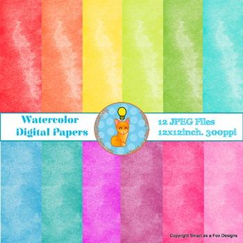 Digital Papers Watercolor Rainbow