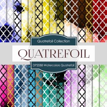 Digital Papers - Watercolors Quatrefoil (DP2088)