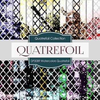 Digital Papers - Watercolors Quatrefoil (DP2089)