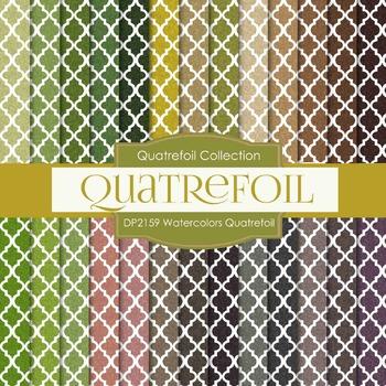 Digital Papers - Watercolors Quatrefoil (DP2159)