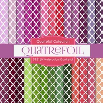 Digital Papers - Watercolors Quatrefoil (DP2160)
