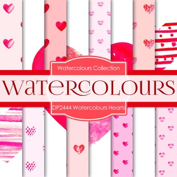 Digital Papers - Watercolours Hearts (DP2444)