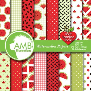 Watermelon Digital Papers and Backgrounds, AMB-899