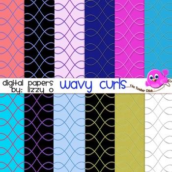 Digital Papers - Wavy Curls