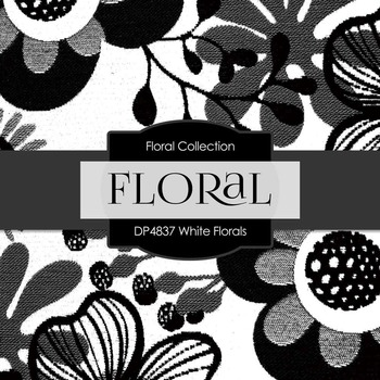 Digital Papers - White Florals (DP4837)