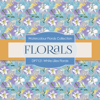 Digital Papers - White Lilies Florals (DP7121)
