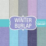 Digital Papers -  Winter Burlap Linen Jute Fabric Textures