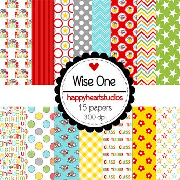 Digital Papers Wise One- Owl, Teachers, School