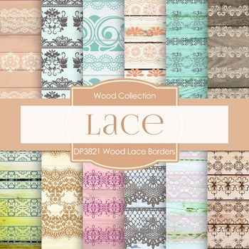 Digital Papers - Wood Lace Borders (DP3821)