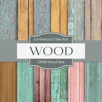 Digital Papers - Wood Teal (DP039)