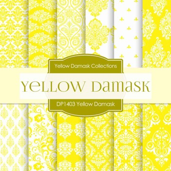Digital Papers - Yellow Damask (DP1403)