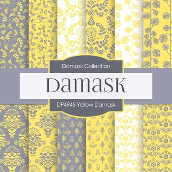 Digital Papers - Yellow Damask (DP4945)