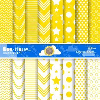 Digital Papers- Yellow Digital Scrapbooking Papers. Scrapbook Paper
