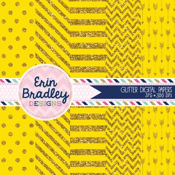 Digital Papers - Yellow Glitter