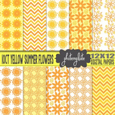 Digital Papers: Yellow Summer Floral Pattern Scrapbooking Paper