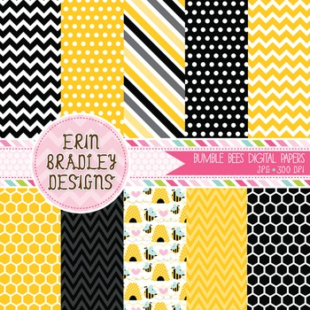 Digital Papers - Yellow and Black