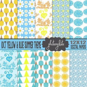 Digital Papers: Yellow and Blue Summer Theme Scrapbooking Paper