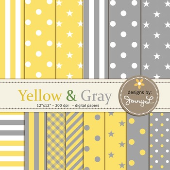 Digital Papers : Yellow and Gray