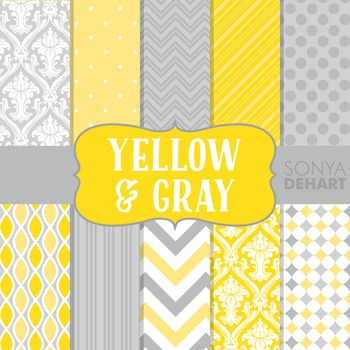 Digital Papers - Yellow and Gray Paper Patterns