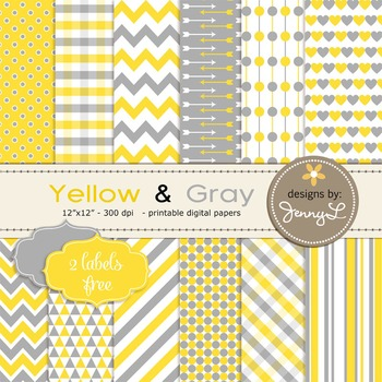 Digital Papers : Yellow and Gray colors