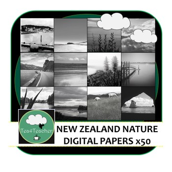 Digital Papers and Backgrounds New Zealand Nature x 50 Colour + 50 B&W