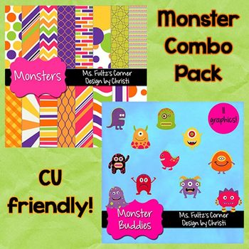 Digital Papers and Clip Art Combo: Monsters