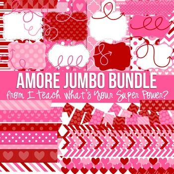 Digital Papers and Frames Amore Valentine Jumbo Set